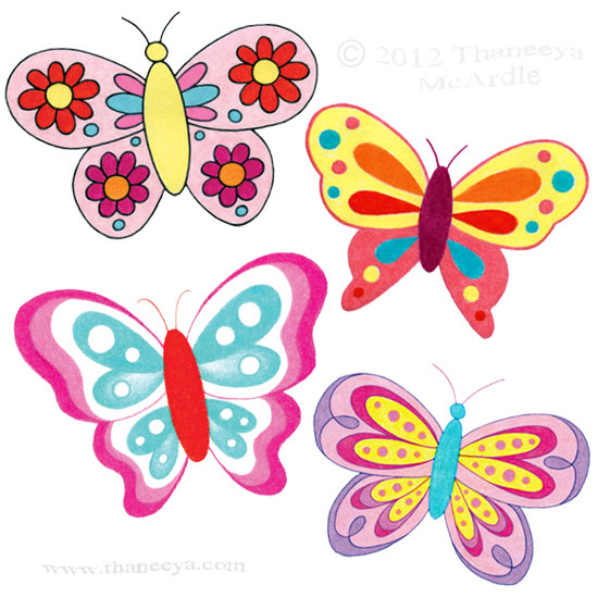 Cute Whimsical Butterflies Drawing by Thaneeya