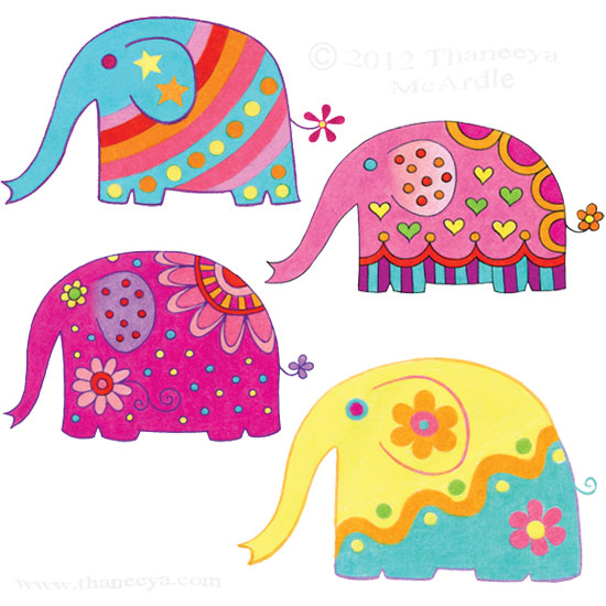 Cute Elephants Whimsical Drawing by Thaneeya