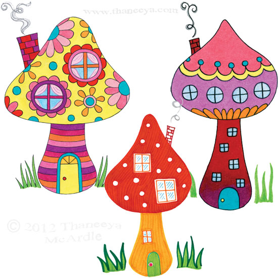 Colorful Toadstool Mushroom Houses by Thaneeya