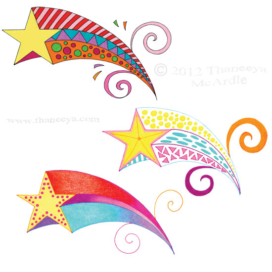 Colorful Groovy Shooting Stars Drawings by Thaneeya