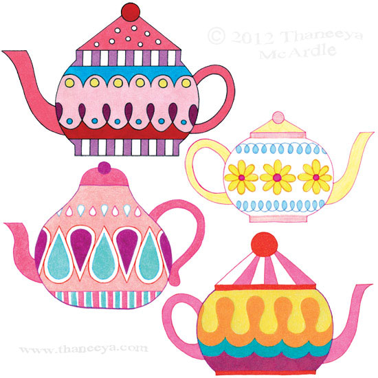 Colorful Whimsical Teapots Drawings by Thaneeya
