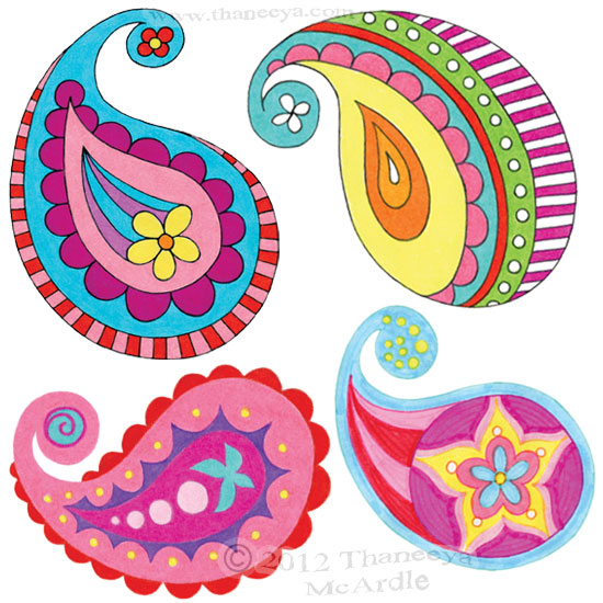 Colorful Paisley Designs Drawings by Thaneeya