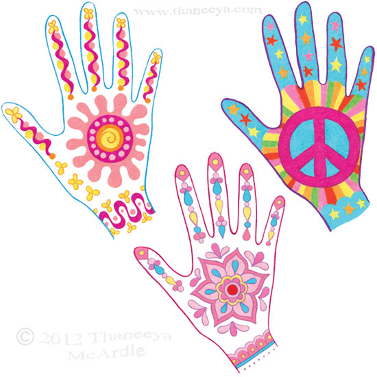 Colorful Mehendi Hand Drawings by Thaneeya
