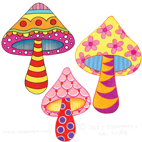 Colorful Mushrooms Toadstools Groovy by Thaneeya