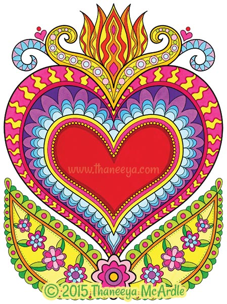 Free Spirit Coloring Book Heart by Thaneeya McArdle