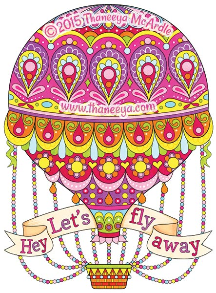 Let's Fly Away Coloring Page by Thaneeya McArdle