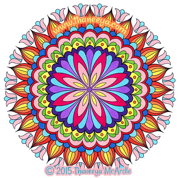 Beautiful Floral Mandala Coloring Page by Thaneeya McArdle