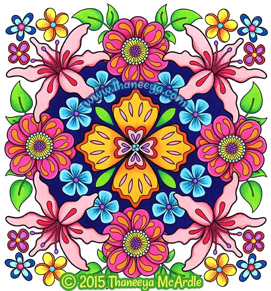 Flower Mandalas Coloring Book Page by Thaneeya