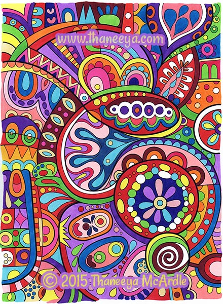 Groovy Abstract Coloring Book Sample Page