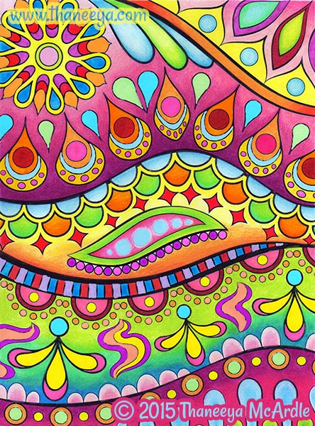 Wavy Groovy Abstract Coloring Page by Thaneeya