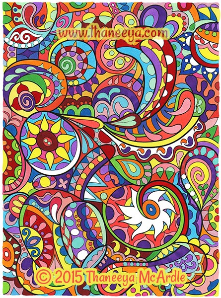 Groovy Abstract Coloring Book Page by Thaneeya McArdle