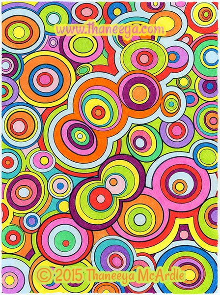 Groovy Abstract Coloring Book Circles by Thaneeya
