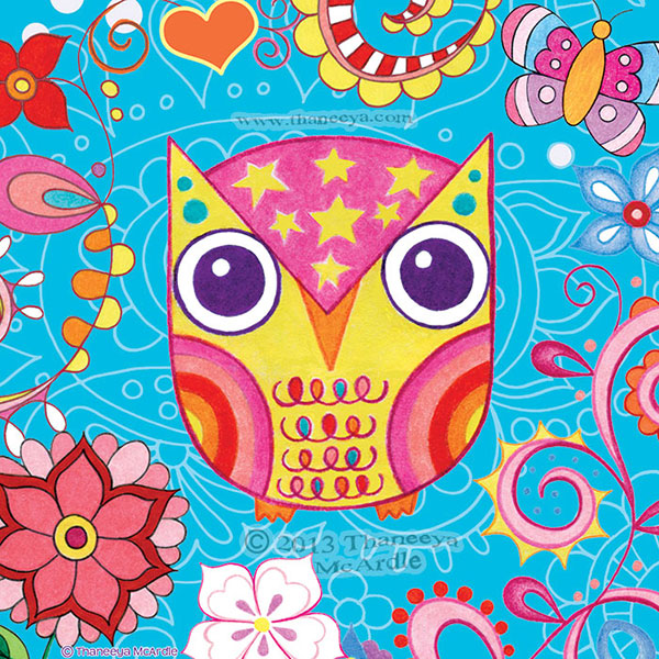 Funky Colorful Owl Art by Thaneeya