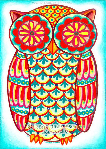 Groovy Retro Owl Art by Thaneeya