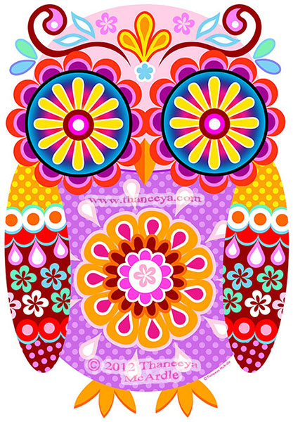 Cute Colorful Owl Art by Thaneeya