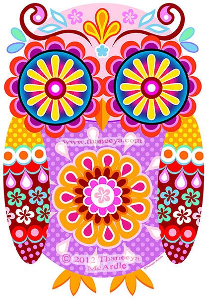 Cute Colorful Owl Art by Thaneeya