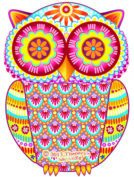 Colorful Owl Art by Thaneeya