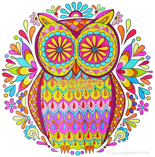 Colorful Groovy Owl Art