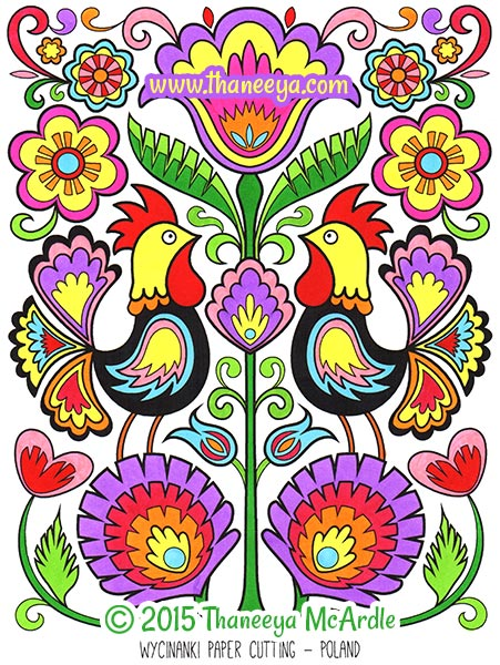 Folk Art Coloring Book by Thaneeya McArdle Thaneeyacom