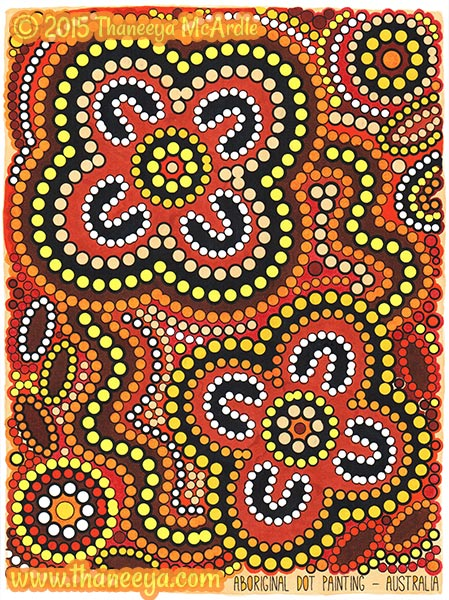 Aboriginal Dot Painting Coloring Page by Thaneeya