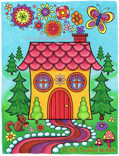 Happy Campers House Coloring Page by Thaneeya