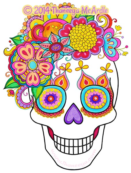 day of the dead coloring book flower skull - Day Of The Dead Coloring Book