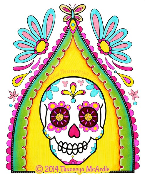 Day of the Dead Coloring Book Skull by Thaneeya
