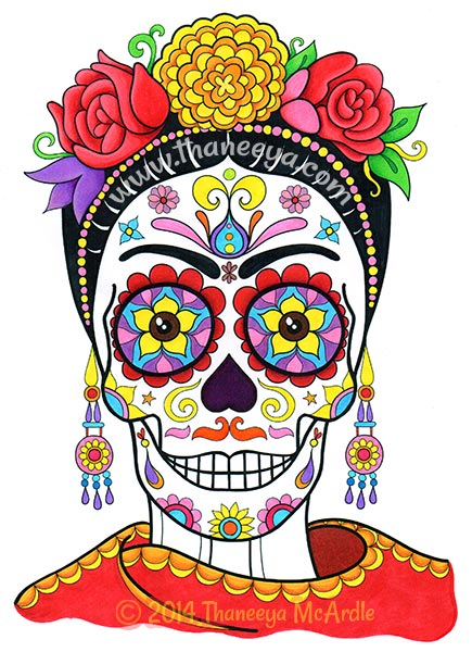 Frida Kahlo Day of the Dead Coloring Page by Thaneeya