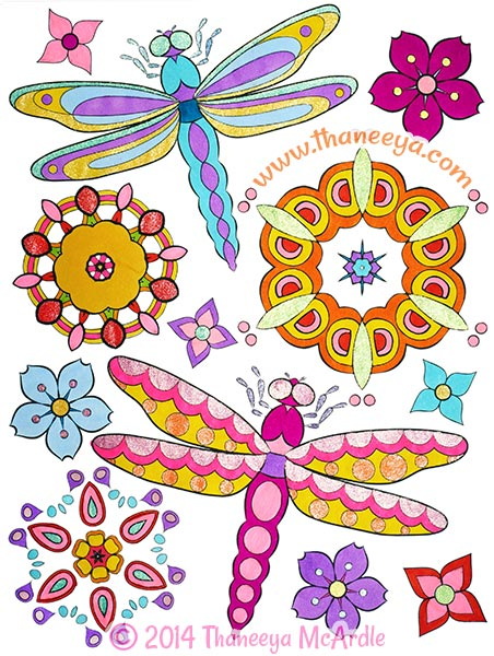 peace and love coloring book dragonfly by thaneeya