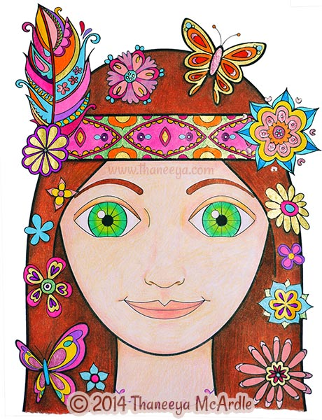 Peace and Love Coloring Book Girl by Thaneeya