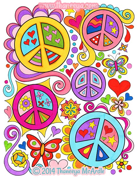 Peace Signs Coloring Page by Thaneeya McArdle