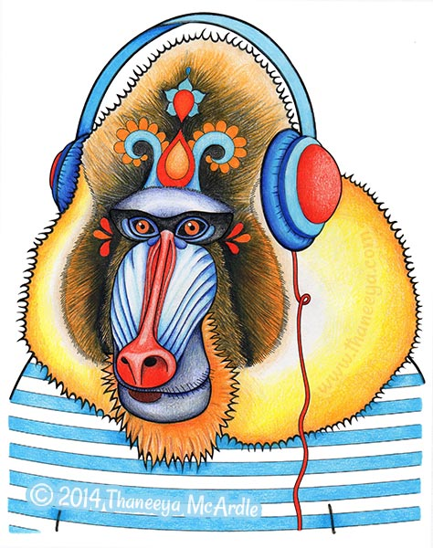Dapper Animals Coloring Page Of Mandrill