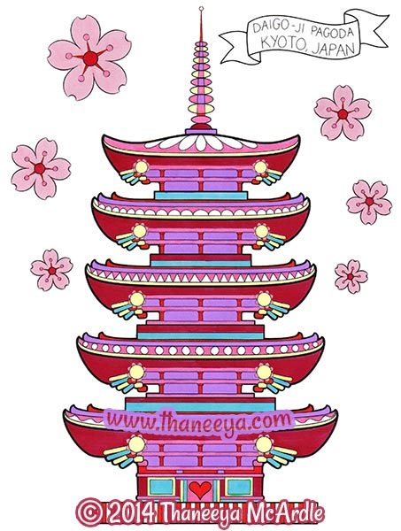 World Traveler Japan Coloring Page by Thaneeya