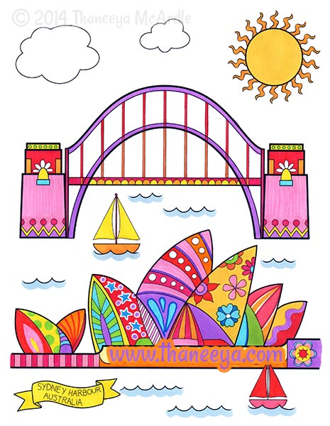 World Traveler Coloring Book Sydney by Thaneeya