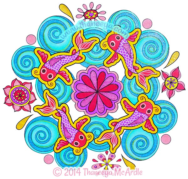 Nature Mandalas Fish Coloring Page By Thaneeya