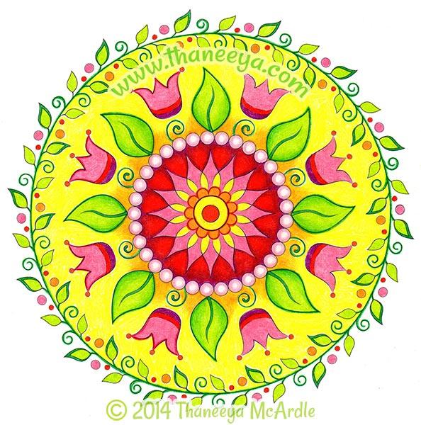 floral nature mandala coloring page by thaneeya
