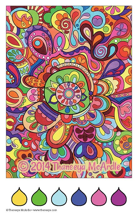 Color Dreams Coloring Book Abstract Page by Thaneeya