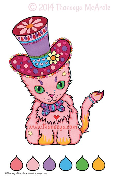 Color Dreams Coloring Book Cat by Thaneeya