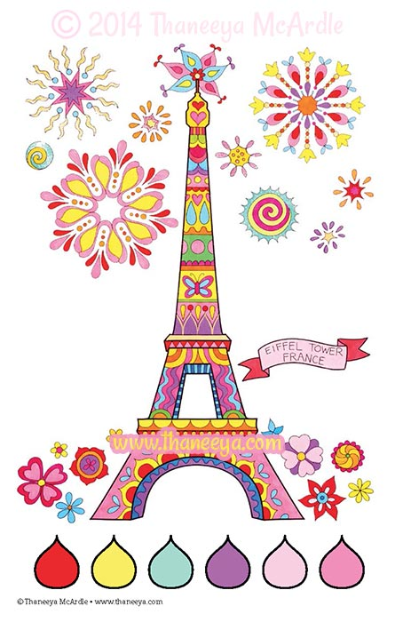Color Love Eiffel Tower Coloring Page by Thaneeya