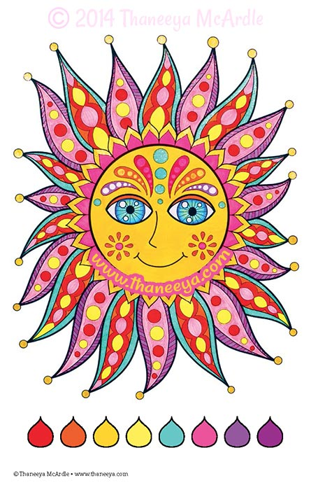 Color Fun Sun Coloring Page by Thaneeya
