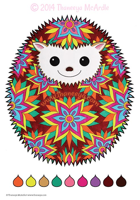 Fun and Funky Coloring Book Hedgehog by Thaneeya