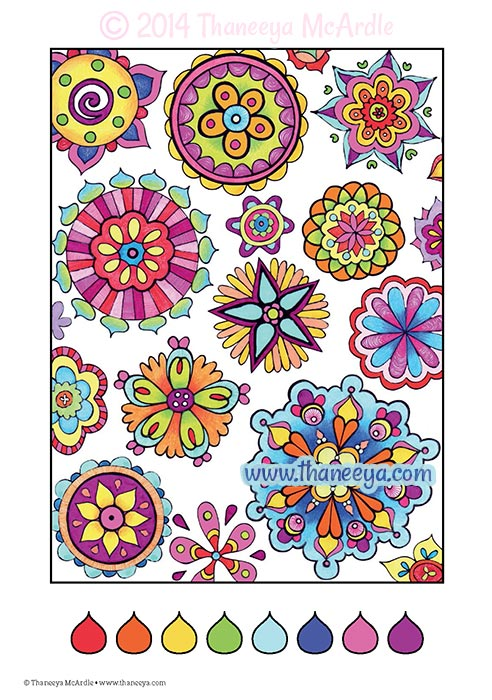 Fun and Funky Abstract Coloring Page by Thaneeya