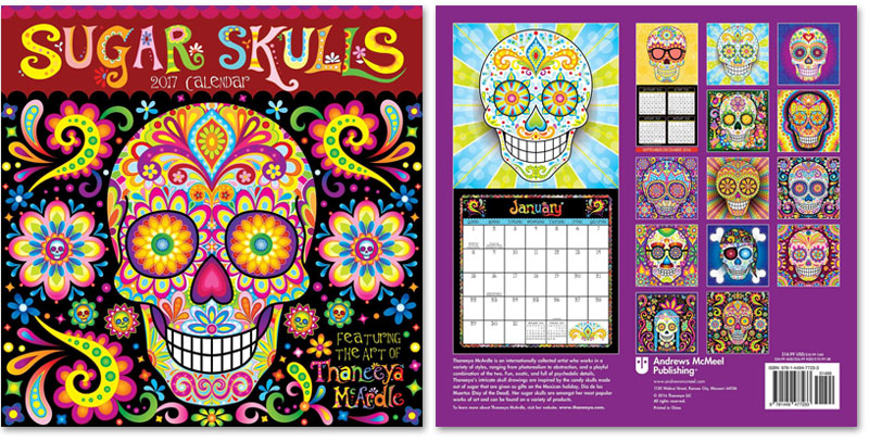 Sugar Skulls Wall Calendar by Thaneeya