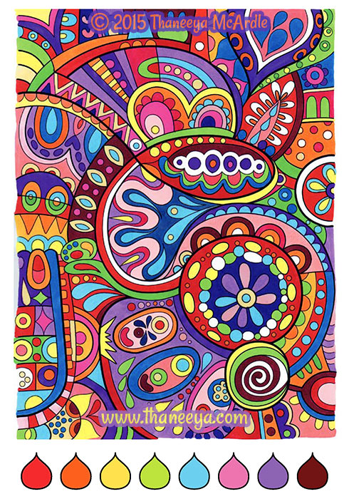Color Cool Abstract Coloring Page by Thaneeya McArdle