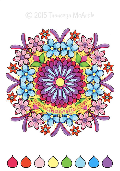 Color Cool Flower Mandala Coloring Page