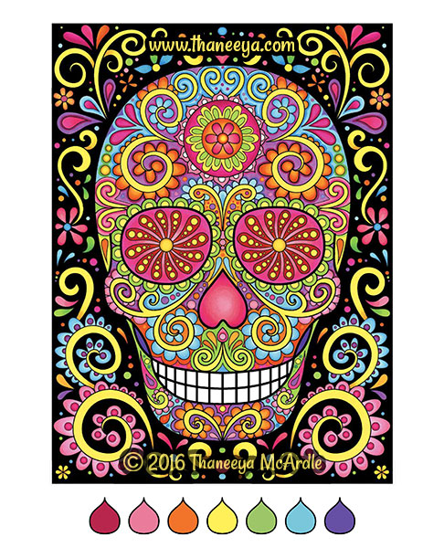 Sugar skull coloring book page by Thaneeya
