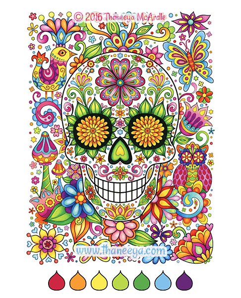 Floral sugar skull coloring page by Thaneeya