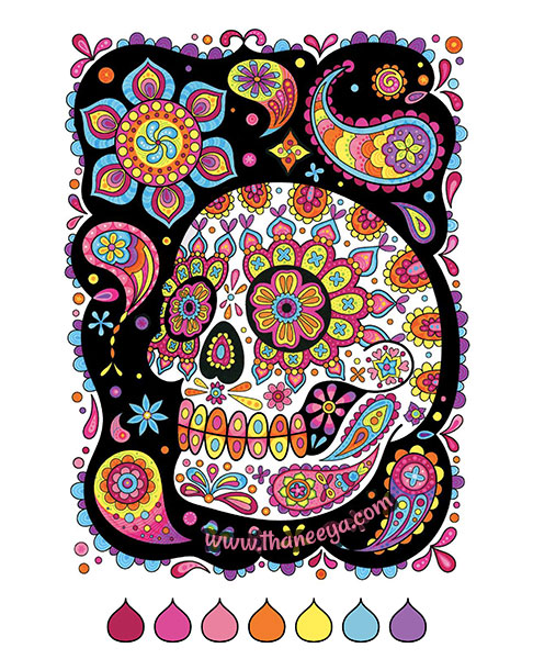 Colored sugar skull coloring page by Thaneeya