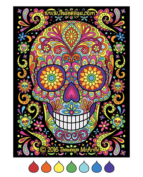 Colorful sugar skull coloring page by Thaneeya