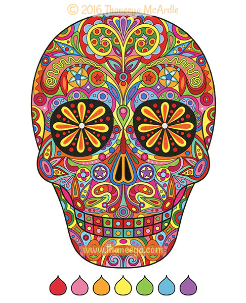 Sugar skull coloring page by Thaneeya McArdle